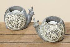 Windlicht Teelicht Teelichthalter Schnecke 9 cm hoch grau gemustert Blume Ranke