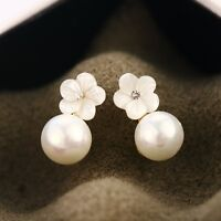 925 Sterling Silver Post White Mother of Pearl 8MM Cute Flower Stud Earrings