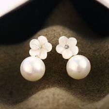 925 Sterling Silver Post White Mother of Pearl 8MM Cute Flower Stud Earrings