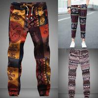 Mens Womens Harem Pants Hippie Cargo Trouser Patchwork Cotton Boho Yoga Trousers