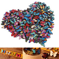 Bulk 50Pcs Mixed Butterfly Shape Wooden Sewing Buttons Scrapbooking 2 Holes AU