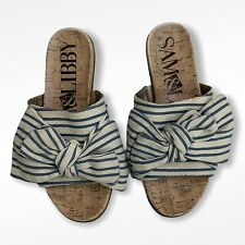 Sam & Libby Blue and Cream Striped Bow Slip On Sandals Flip Flops Size 6.5