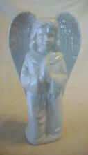 """WHITE CERAMIC PRAYING ANGEL WITH WINGS FIGURINE, 7.5"""" TALL"""