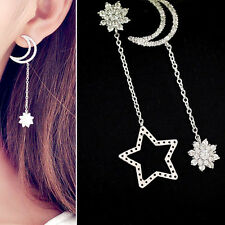 1Pair Korean Women Rhinestone Ear Stud Earring Dangle Star Moon Tassel Jewelrys