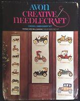 Avon Creative Needlework Crewel Embroidery Kit Vintage Cars Wall Hanging 1974