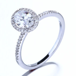 14K White Gold Cubic Zirconia Engagement Wedding Fine Jewelry Ring Oval 7x5mm
