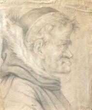 Tête d'homme dessin ancien XVIIIe ou avant.signature illisible