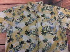 Men's Large Columbia Hawaiian Shirt 100% Cotton Floral Yellow Beach Palm Tree