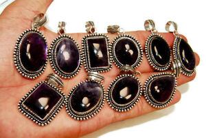 Wholesale Lot Natural Purple AMETHYST Gemstone 925 Sterling Solid Silver Pendant