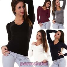 Maglia maglioncino pullover aderente maglione scollo a V donna nuovo 6957-MOD
