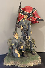 Civil War Us Soldiers With Flag 12 X 8 Nch Resin Figurine