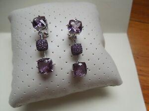 Judith Ripka Sterling Silver Amethyst Earrings