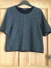 M&S Collection Ladies Black & Grey Textured Short Sleeve Top Sz 12 Petite