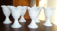 Cool Set of 6 Art Deco Cascade Band Milk White Sherbet Ice Cream Glasses