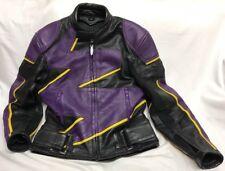 TEKNIC Leather Jacket Racing Motorcycle Bike Black/Purple/Yellow 42 - 52