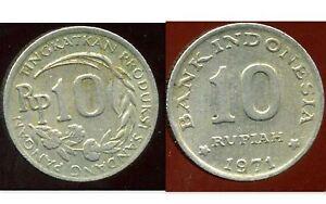 INDONESIA  INDONESIE  10 rupiah  1971  ( etat )