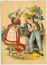 Carte postale-Guyenne-Bordelaise-Blason-Illustrateur.Maudy-Costume régional