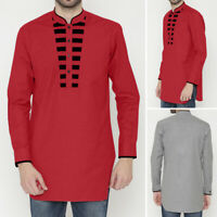 Men's Blouse Baggy Short Kaftan Kurta Casual Slim Fit Button Up Tops Shirts Tee