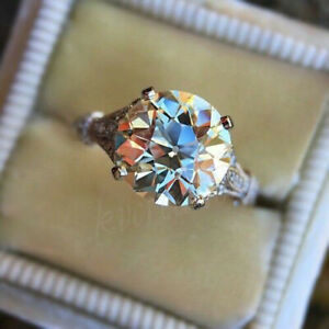 Old Euproean Moissanite 2.79 Ct Near White Engagement Ring 925 Sterling Silver