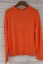 MARTIN 100% Luxury Zegna Baruffa Cashmere Sweater-Orange Cable Crew Neck