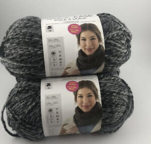 BONUS BUNDLE Lion Brand Wool-Ease Thick & Quick Yarn Licorice (Gray) Lot of 3