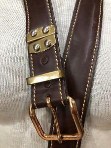 "VTG Leather Reversible Belt 38 Brown Suede Smooth 1 1/2"""