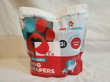 """3 Pack of Pet Parents Washable DOG DIAPERS Size L Waist 19-27"""" for Male & Female"""