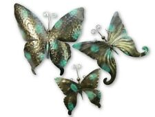 Butterfly Wall Art Ornament Metal Butterflies Wall Hanging - Set of 3 Gold VDG