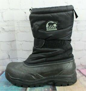 SOREL Women's Black Nylon Insulated Snow Cat Strap Snow Boots Size 8 M