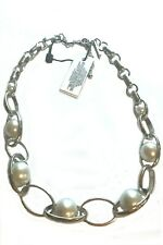 WHITE HOUSE BLACK MARKET GLASS PEARL OVAL LINK SHORT NECKLACE-NEW W/ TAGS