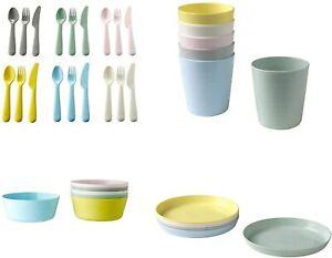 Ikea KALAS Children Baby Kids Plastic 36 piece Party Cutlery Cups Plates Bowls