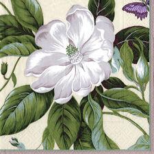 Parchment Garden Image white flower Caspari paper napkins 20 pack 33 cm sq 3 ply