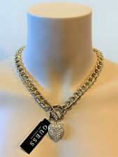 NWT GUESS LOGO NECKLACE Gold & Rhinestone Bling Chunky Heart Pendant GENUINE