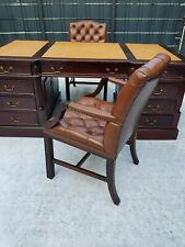 Schreibtisch Englisch, Kolonial mit 2 Leder Bürostühle/WADE orig.