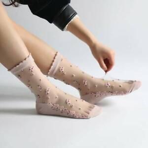 Womens Transparent Thin Flower Lace Socks Crystal Silk Short Ankle Socks Summer