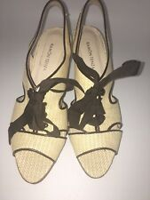 Ramon Tenza Made in Spain Womens Heals Woven Tan with Brown Ribbon Tie US 7.5