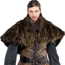 Mens Corto Marrón Piel Hombro Medieval Rey Disfraz Capa