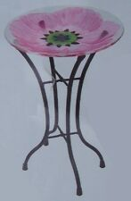 "Bird Feeder Bath Pink Peony Glass with metal stand NEW 11 1/2"" in diameter"