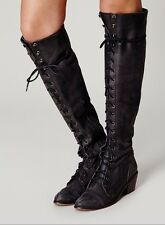 Jeffrey Campbell Joe Lace Up Granny Knee High Campus Womens Boots Size 7