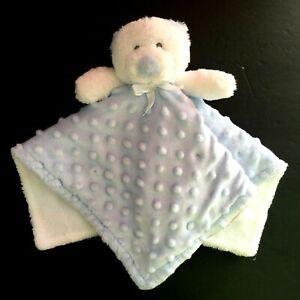 "Blankets And & Beyond Blue White Teddy Bear Security Lovey Nunu Minky Dot 15x15"""