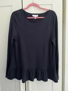 The White Company White Label Viscose Wool Blend Navy Long Sleeved Top UK 14
