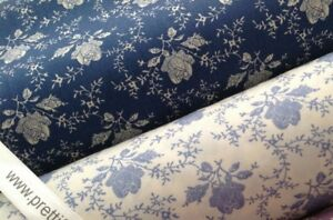 DELPH ROSE, ROSE & HUBBLE 100% Cotton Fabric, Sewing, Craft, CREAM or BLUE