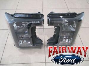 17 thru 19 Super Duty OEM Ford Halogen Head Lamps Lights Pair BLACK SPORT MODEL