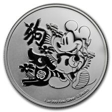 2018 New Zealand Mint $2 Niue Disney Year of the Dog 1 oz .999 Silver Coin