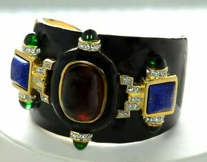 Kenneth J Lane KJL Black Enamel Ruby Resin Cabochon Cuff Bracelet