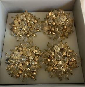 Kim Seybert Set Of 4 Gold Beaded Napkin Rings New