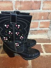 Seychelles Anthropologie Black Red Floral Embroidered Leather Cowboy Boots 7