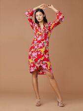NWT Diane Von Furstenberg Tulip Dress w/Slip in Celebration Floral Red 14 $398
