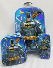 Kids 3D Batman School Backpack Rucksack Trolley Travel Lunch Bag Pencil Case Boy