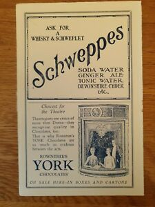 SCHWEPPES AND ROWNTREE Vintage Advertisement 1949 size 21.5cm x 14cm